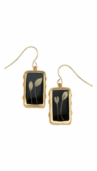 Veronica Bud Black Rect Earrings