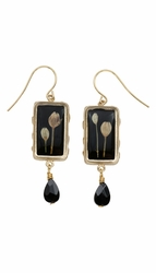 Veronica Bud Black Rect Earrings w/Drop
