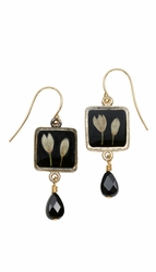Veronica Bud Black Sm Sq Earrings w/Drop