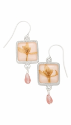 Veronica Pale Pink Sq Earrings w/Drop