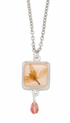 Veronica Pale Pink Sq w/Drop Necklace