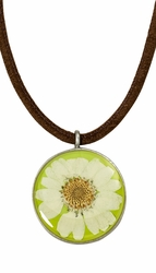 White Daisy MED Round Leather Necklace