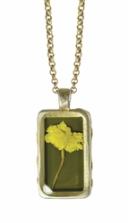 "Yellow Achillea 16"" Sml Rect Necklace"