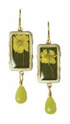 Yellow Achillea Sml Rect. Earrings w/Drop