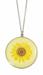 Yellow Daisy LG Round Necklace