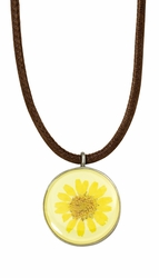 Yellow Daisy MED Round Leather Necklace
