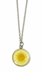 Yellow Daisy SM Round Necklace