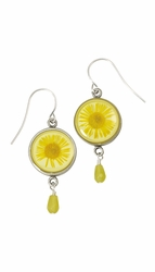 Yellow Daisy SM Round Earrings w/Drop