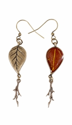 YWS Leaf w/Branch Dangle Earrings