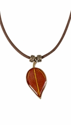 "YWS Single Leaf 18"" Adj. Suede Necklace"