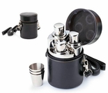 3 Pc - 4 oz. Columniformed Shiny Stainless Steel Flask