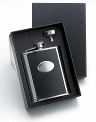 6 oz. Black Bonded Leather Ribbed Sides Funnel In Black Gift Box