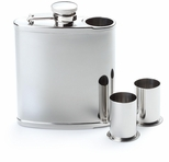6 oz. Shiny Stainless Steel Flask with Shooters SSF3680