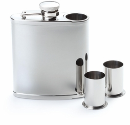 6oz. Shiny Stainless Steel Flask with Shooters