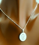 .925 Sterling Silver Scalloped Edge Oval Necklace