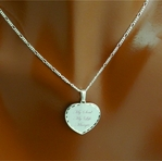 .925 Sterling Silver Scalloped Heart Necklace