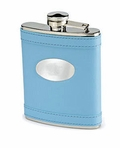 Baby Blue Leather Flask