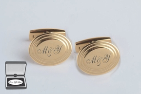 Beveled Oval Gold Cufflinks
