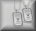 Black Cubic Zirconia Dog Tag Necklace Set