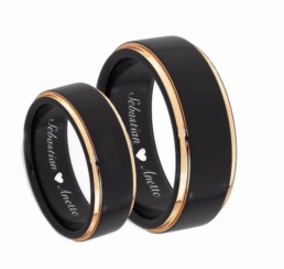 Black & Gold Stainless Steel Ring Set