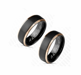 Black & Gold Two Tone Tungsten Ring Set
