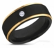 Black Matte & Gold CZ Stainless Steel Ring