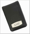 Black or Brown Leather Magnetic Money Clip