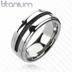 Black Rope Twist Inlay Titanium Ring
