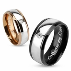 Black & Rose Gold Stainless Steel Dome Ring with CZ