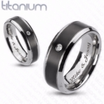 Black & Silver CZ Titanium Ring Set