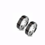 Black Stripe Stainless Steel Ring Set