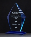 Blue Accent  Acrylic Trophy