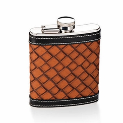 Brown Black Leather Flask