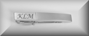 Brushed Two Tone Silver Tie Clip