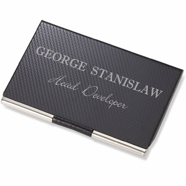 Carbon fiber chrome business card case engraved business card carbon fiber chrome business card case reheart Images