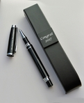 Chrome & Black Screw-On Rollerball Pen
