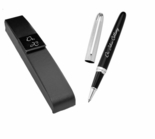 Chrome Stripe & Black Rollerball Pen
