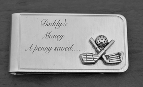 Golf Clubs Brushed Silver Money Clip