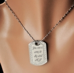 Cubic Zirconia Dog Tag Necklace