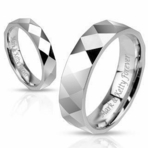 Diamond Cut Stainless Silver Ring Set