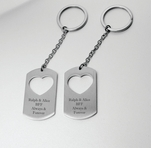 Dog Tag With Heart Keychain Set