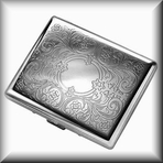 Double Gunmetal Silver Cigarette Case