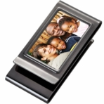 Double Sided Gunmetal Picture Money Clip & Card Holder