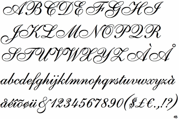 English Vivace Font Styles For Engraving