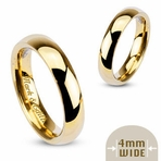 Engraved 316L Stainless Steel Gold IP Couples Ring
