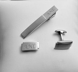 Brushed Stainless Steel Cufflink & Tie Clip Set