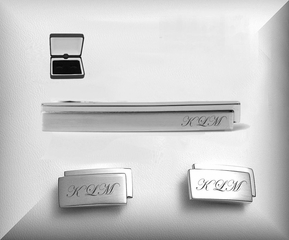 Contemporary Silver Cuff Link & Tie Clip Set