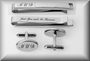 Oval Silver Cuff Link and Tie Clip Set