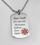 Engraved Medical ID Stainless Steel Pendant With Necklace Engraved Free