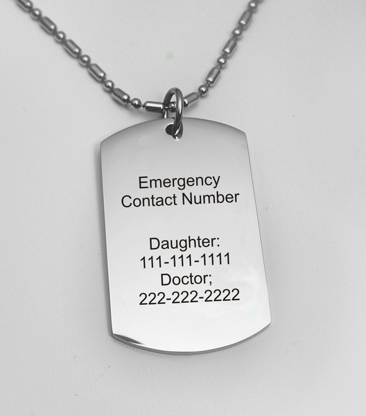 Medical id stainless steel necklace engraved necklace medical id stainless steel necklace mozeypictures Image collections